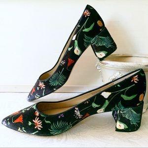 Ann Taylor Floral Velvet Block Heel Pumps 9, Black